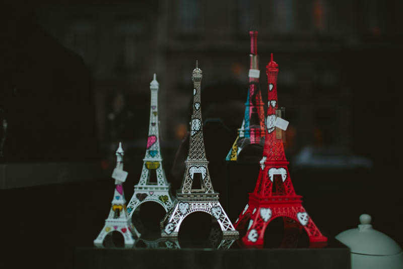 France travel photography Eiffel tower figurines Paris
