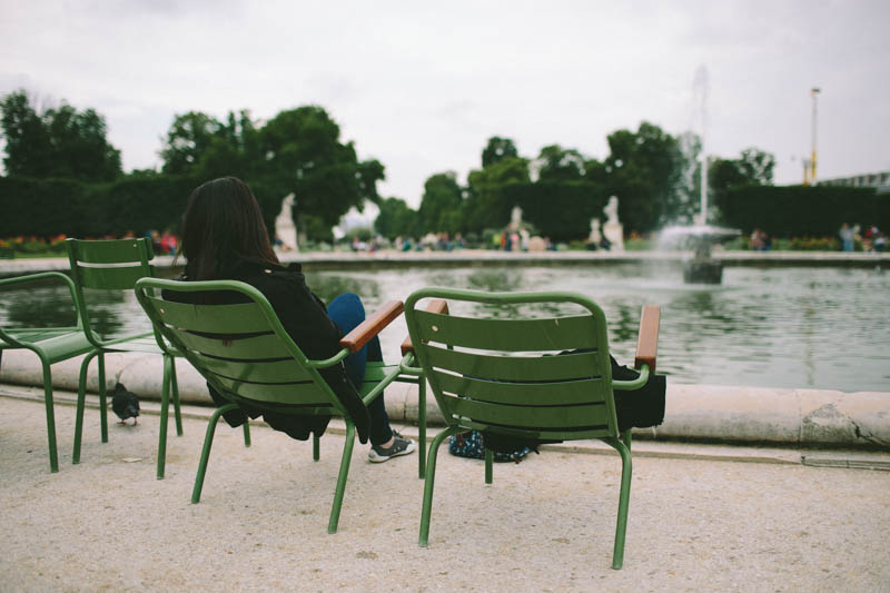 France travel photography Tuileries Gardens green chairs relaxing
