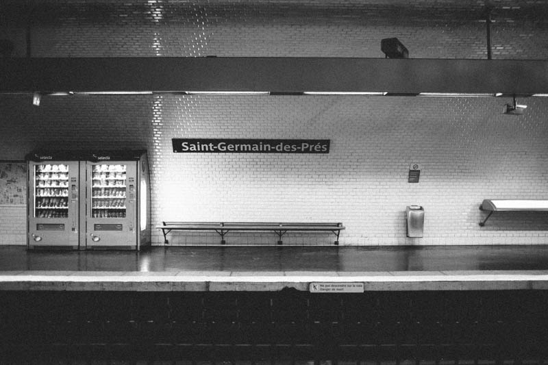 France travel photography Paris metro Saint Germain black and white
