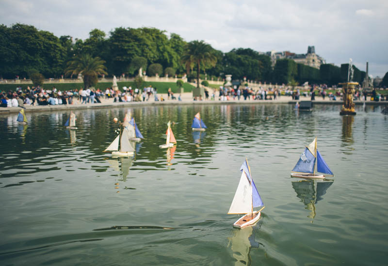 France travel photography Paris Luxembourg gardens pond boats