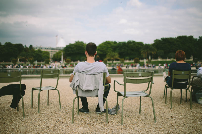 France travel photography Paris Luxembourg gardens green chairs relaxing summer