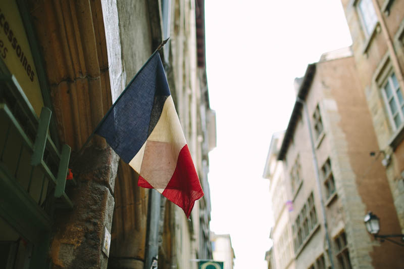 France travel photography Lyon streets and french flag