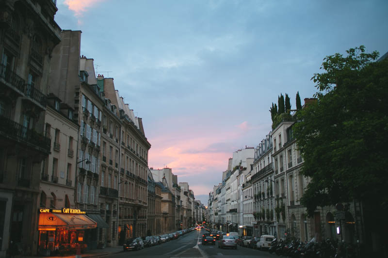 France travel photography twilight Parisian street