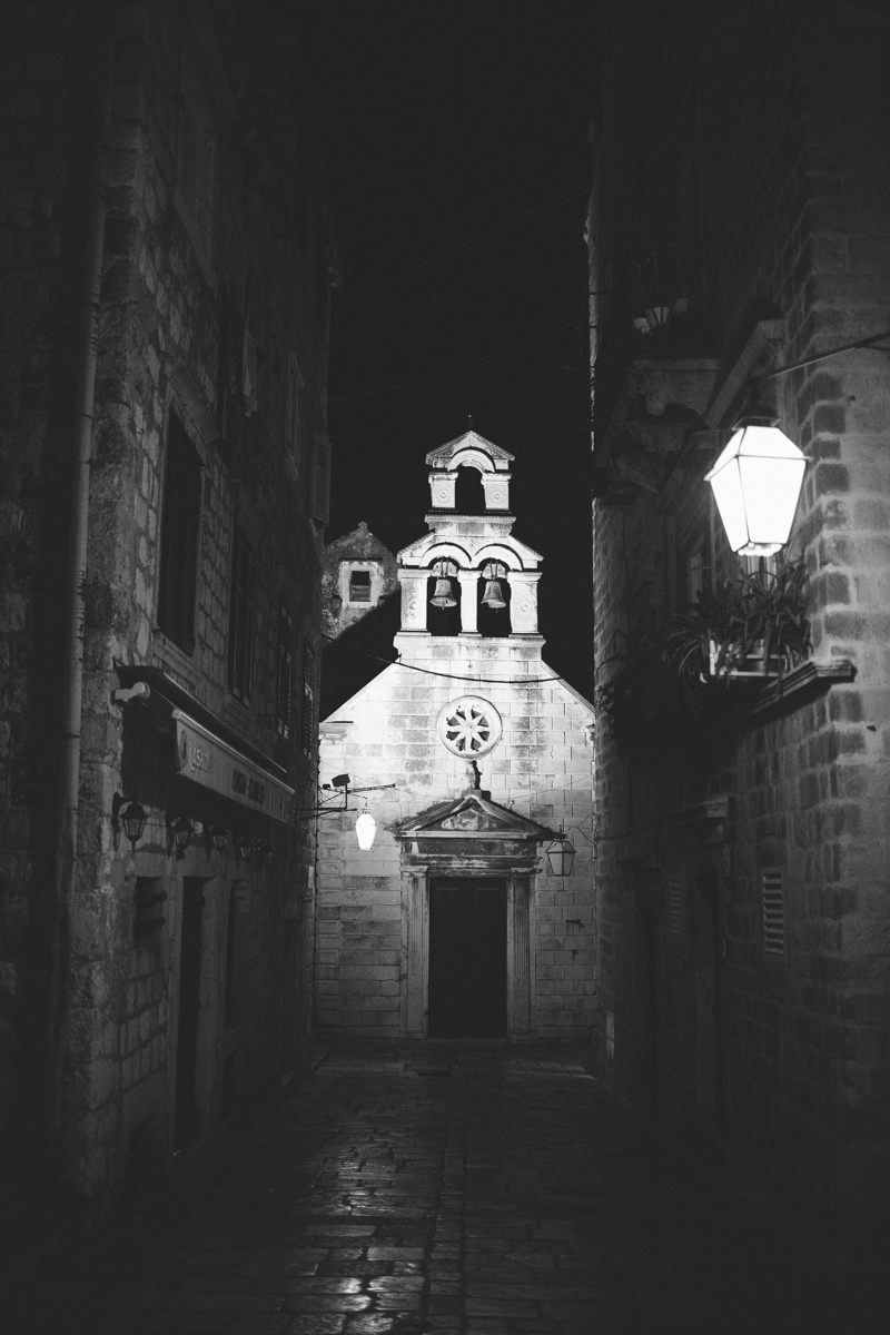 croatia travel photography dubrovnik old town church architecture black white
