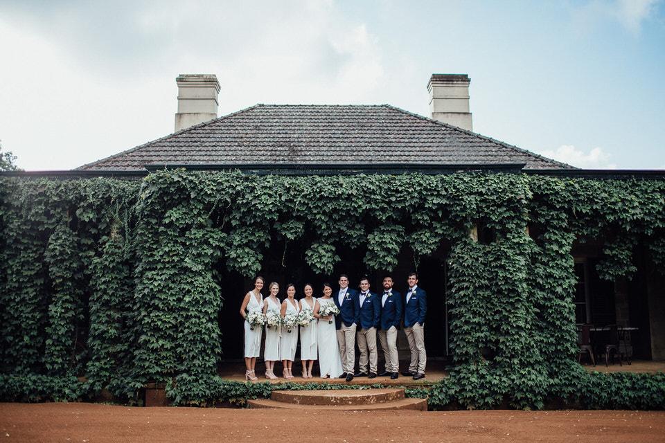 Bendooley estate wedding bridal party
