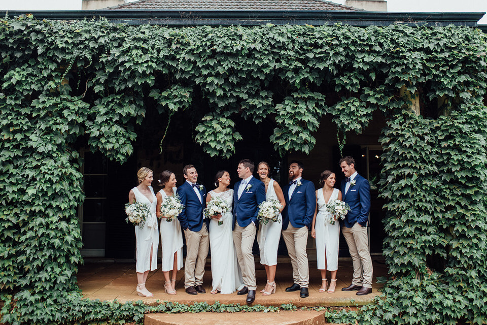 fun bridal party photo at bendooley estate in bowral southern highlands