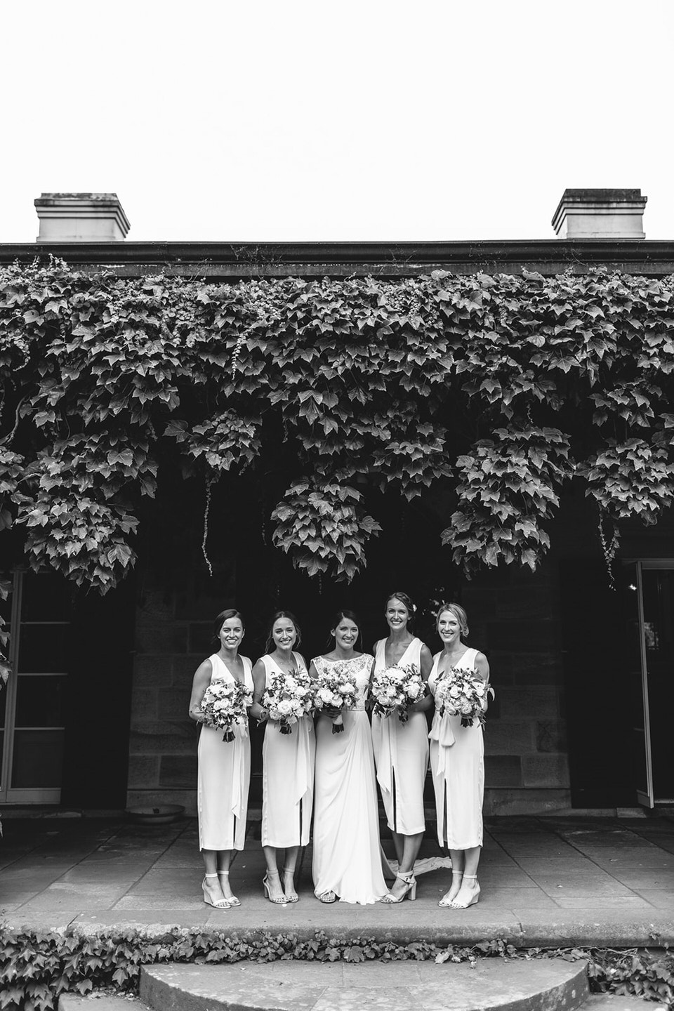 bridesmaids and bride at bendooley estate in bowral southern highlands