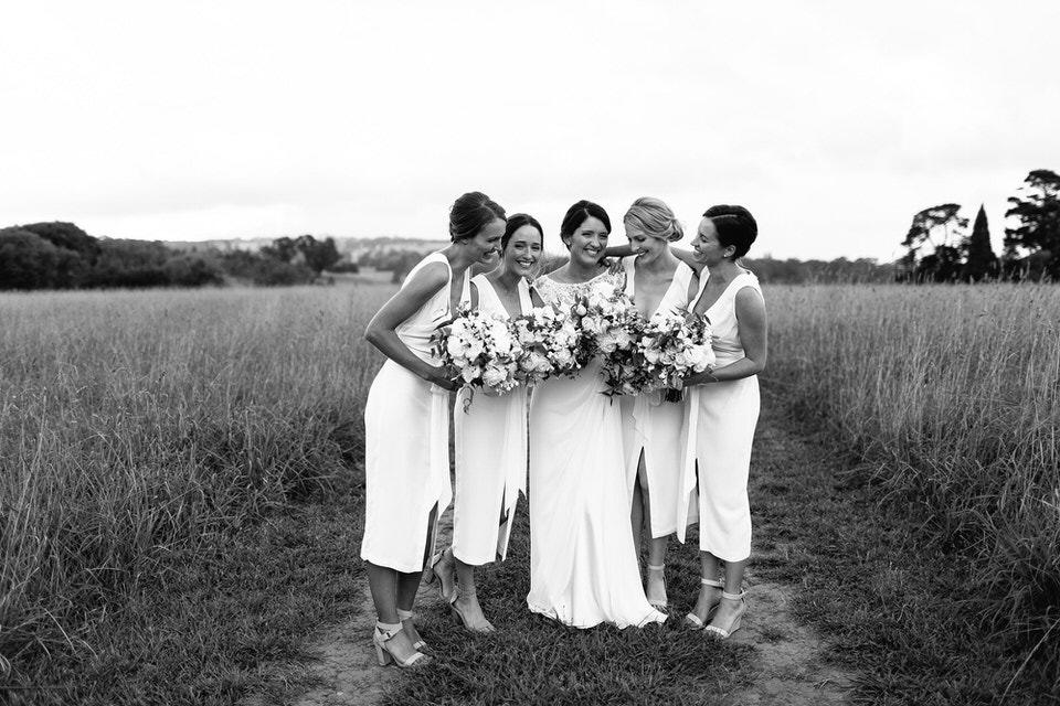bride and bridesmaids at bendooley estate wedding in bowral southern highlands