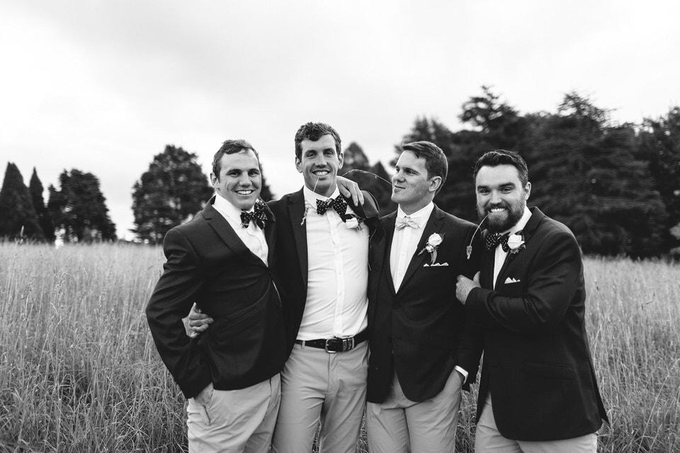 groom and groomsmen at bendooley estate southern highlands
