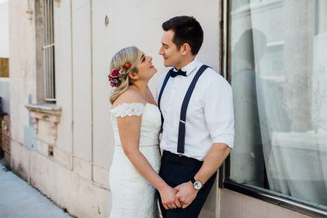 Loved up couple in Chippendale after getting married at Handpicked Wines in Sydney