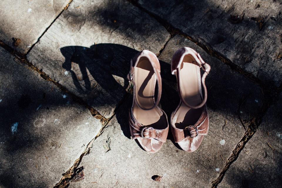 Bride's pink velvet shoes in Bowral Southern Highlands
