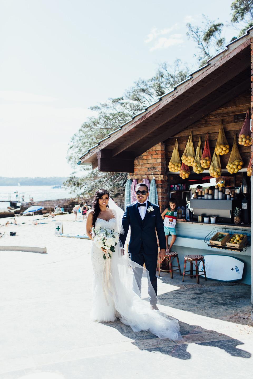 Bride and groom at Watsons Bay