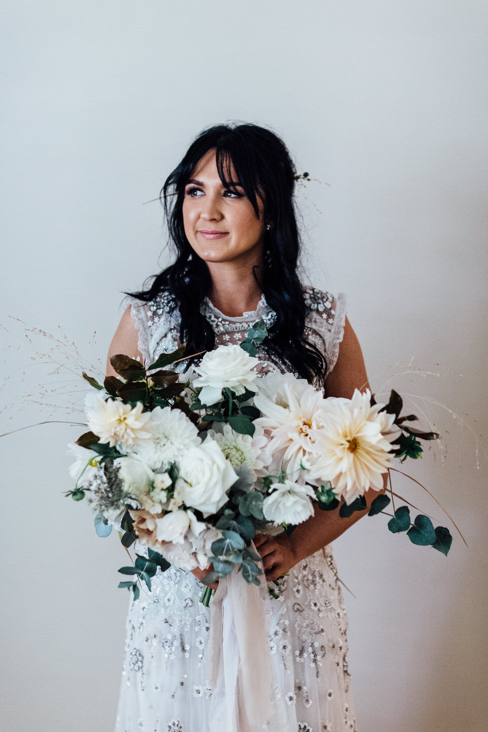 Bride wearing Needle and Thread London wedding dress and holding Twig Studio bouquet in Adelaide South Australia