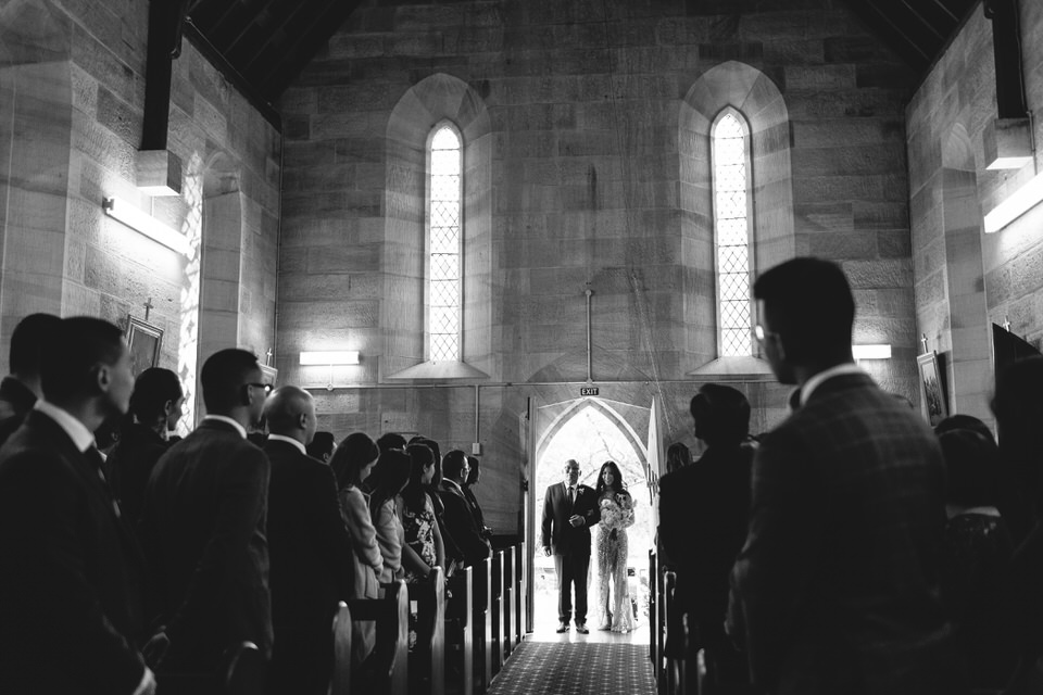 Bride and her father entering St Francis Xavier Church in Berrima Southern Highlands