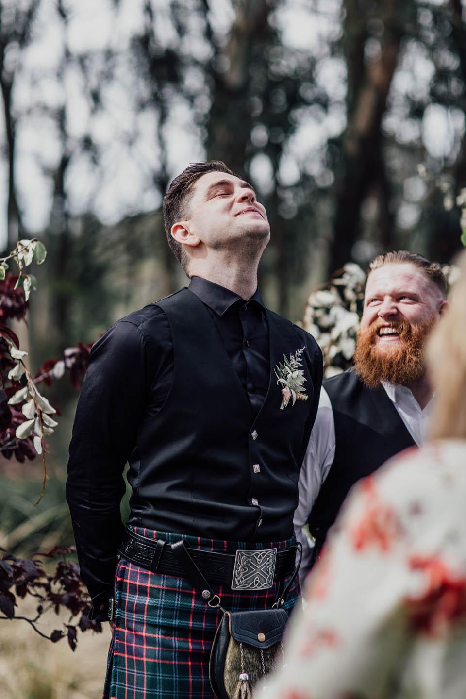 Groom seeing bride walking down aisle at Grand Bistro Wombat Hollow
