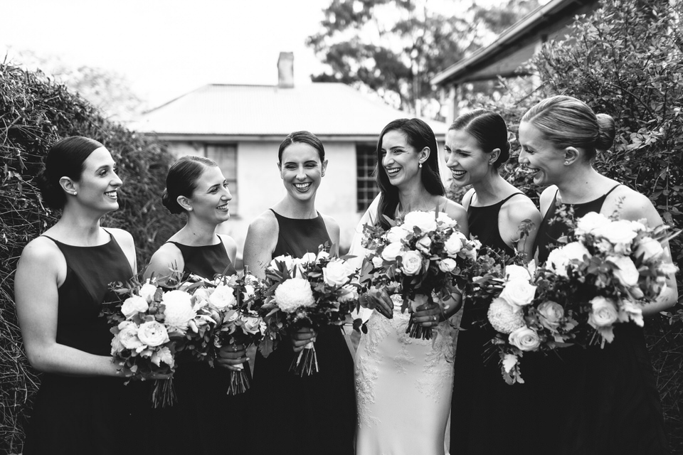 Bride and bridesmaids at Horsley Homestead