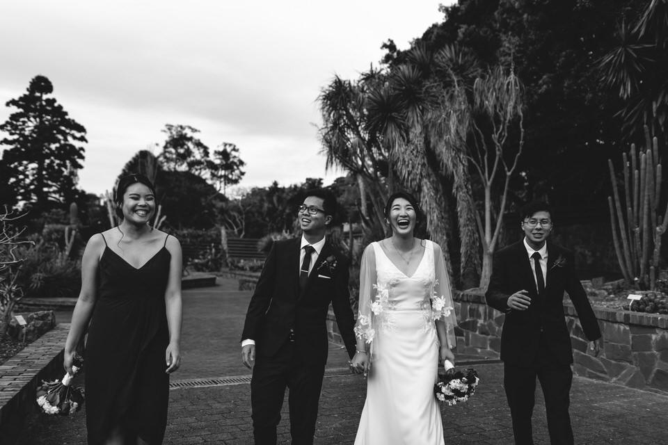 Small bridal party at succulent garden in Sydney Botanic Gardens