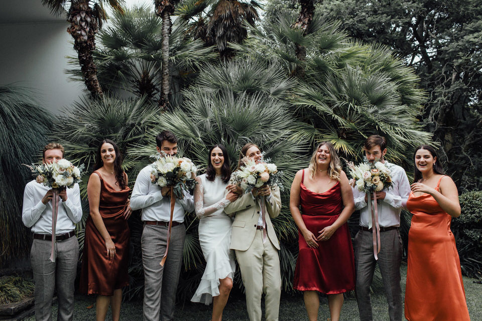 bridal party relaxed Sydney backyard wedding