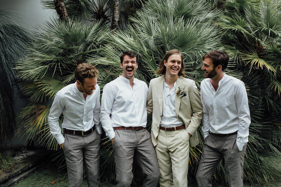 groomsmen relaxed Sydney backyard wedding