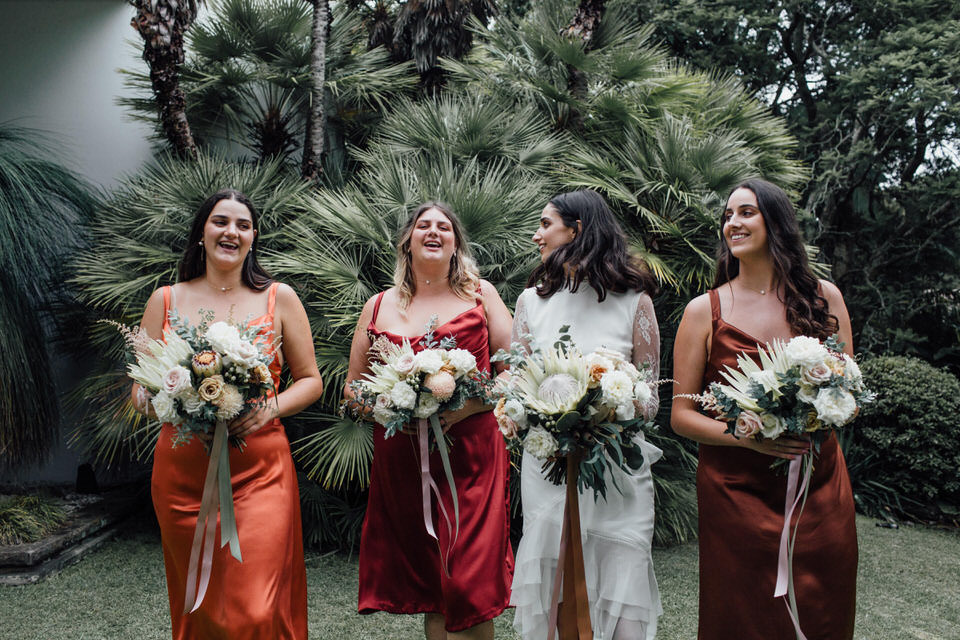 bride and bridesmaids relaxed Sydney backyard wedding