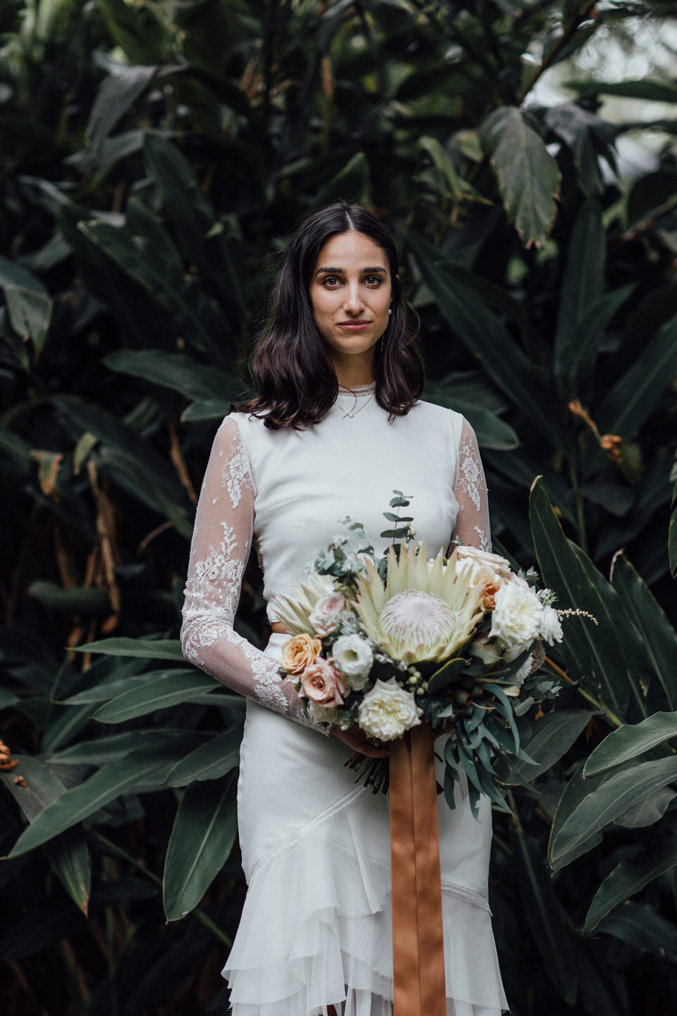 Bride at relaxed Sydney backyard wedding in St Ives