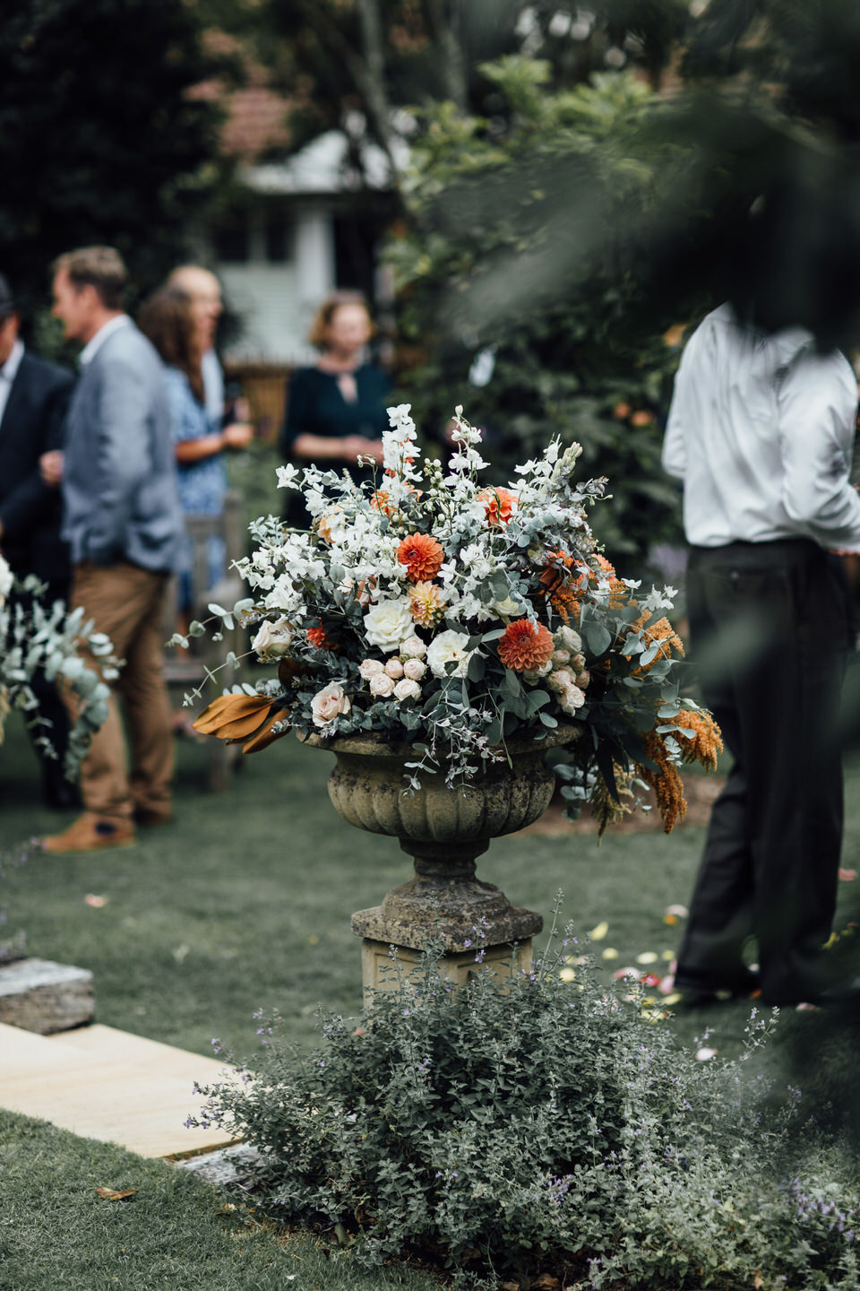 flower arrangement at Relaxed backyard wedding ceremony in Sydney