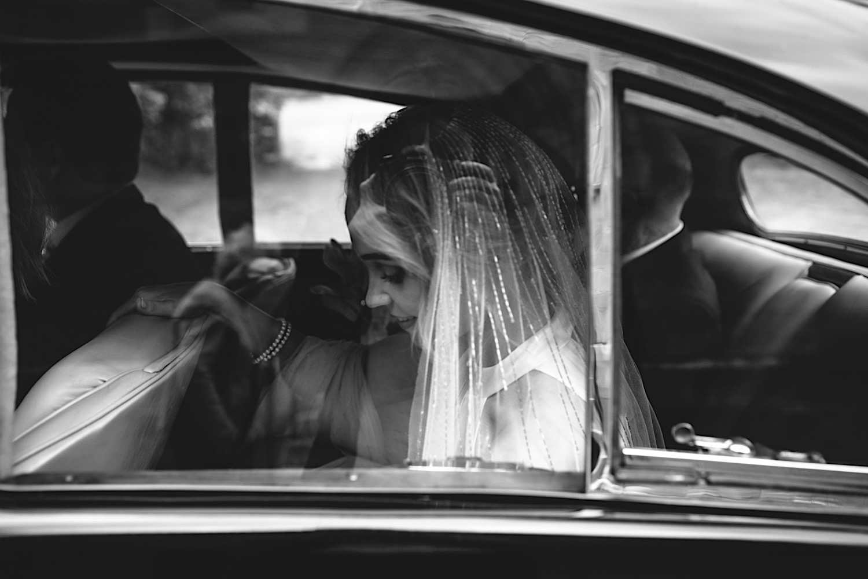 Bride arriving to Berrima wedding in classic car